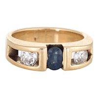Sapphire Diamond Band Vintage 14 Karat Yellow Gold Sz 4 Pinky Ring Estate Jewelry