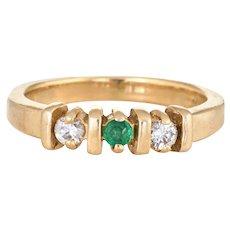 Emerald Diamond Pinky Ring Vintage 14 Karat Yellow Gold Estate Fine Jewelry Sz 3.25