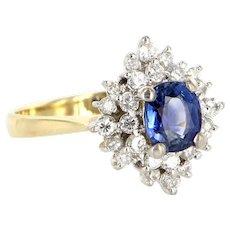 Vintage 14 Karat Yellow White Gold Diamond Natural Sapphire Princess Cocktail Ring Estate Jewelry