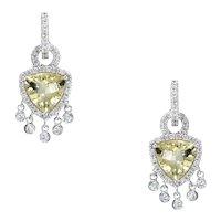 Lemon Citrine Diamond Fringe Drop Earrings Estate 18 Karat White Gold Fine Jewelry
