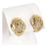 Basket Weave Vintage Earrings 14 Karat Yellow Gold Estate Fine Jewelry Pre Owned