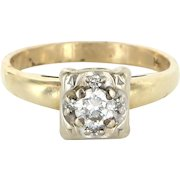 Diamond Engagement Ring Vintage 14 Karat Yellow White Gold Estate Fine Jewelry Bridal