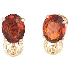 Maderia Citrine Stud Earrings Vintage 14 Karat Yellow Gold Jewelry Screw Backings
