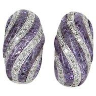 0.95ct Diamond Shrimp Earrings Vintage 18 Karat White Gold Estate Fine Jewelry