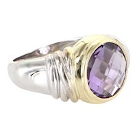 Vintage 14 karat White Gold Amethyst Cocktail Ring Estate Fine Jewelry Pre Owned