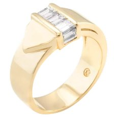 Diamond Buckle Ring Vintage 14 Karat Yellow Gold Estate Fine Jewelry Pre Owned Band