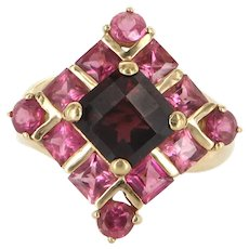 Estate Garnet Pink Topaz Cocktail Ring 10 Karat Yellow Gold Fine Jewelry Pre Owned