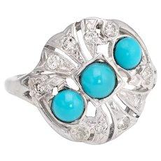 Vintage Turquoise Diamond Ring 14 Karat White Gold Cocktail Jewelry Estate Fine 9.5