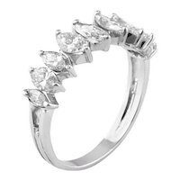 1ct Marquise Diamond Half Band Ring Vintage 14k White Gold Estate Fine Jewelry