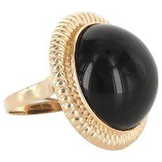 Vintage Large Onyx Round Cocktail Ring 14 Karat Yellow Gold Estate Fine Jewelry