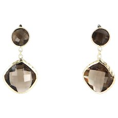 Vintage Smoky Topaz Quartz Drop Earrings 10 Karat Yellow Gold Estate Fine Jewelry