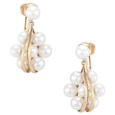 Vintage Mikimoto Cultured Pearl Cluster Drop Earrings 14 Karat Yellow Gold Estate