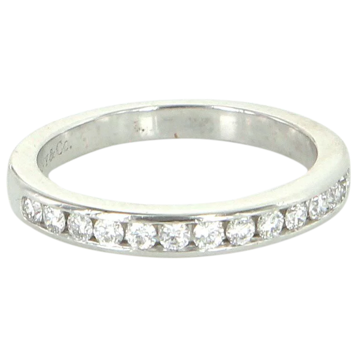 90e8db5ce21ec Estate Tiffany & Co Diamond Half Circle Wedding 2mm Band Ring 950 Platinum  Sz 4
