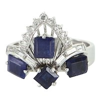 Kyanite Diamond Tiara Cocktail Ring Vintage 14 Karat White Gold Estate Fine Jewelry