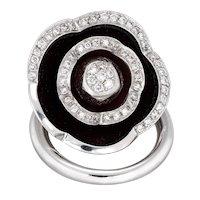 Movable Flower Diamond Ring Enamel Vintage Cocktail 18 Karat White Gold Jewelry