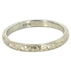 Embossed Flower Wedding Band Ring Vintage Deco 18 Karat White Gold Sz 8