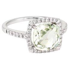 Prasiolite Diamond Cocktail Ring Estate 14 Karat White Gold Fine Jewelry Pre Owned