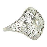 Belais Diamond 18k White Gold Geometric Filigree Ring Vintage Deco Cocktail
