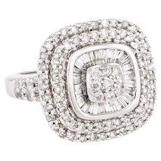 Mixed Cut Diamond Cluster Cocktail Ring Estate 10 Karat White Gold Fine Vintage