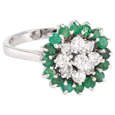 Emerald Diamond Cluster Ring Vintage 14 Karat White Gold Estate Fine Jewelry