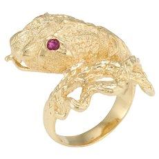 Snake Serpent Ring Vintage 18 Karat Yellow Gold Ruby Eyes Fine Estate Jewelry