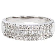Estate Mixed Cut Diamond Ring 14 Karat White Gold Vintage Fine Jewelry Wedding Band