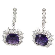 Amethyst Diamond Vintage Drop Cocktail Earrings 14 Karat White Gold Estate Jewelry