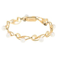 Mikimoto Cultured Pearl Bracelet Vintage 14 Karat Yellow Gold Estate Fine Jewelry