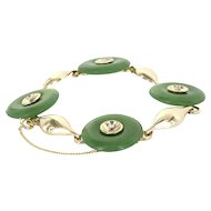 Vintage Jade Disc Diamond Bracelet 14 Karat Yellow Gold Estate Fine Jewelry Heirloom