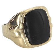 Mens Onyx Signet Ring Vintage 10 Karat Yellow Gold Estate Fine Jewelry Pre Owned