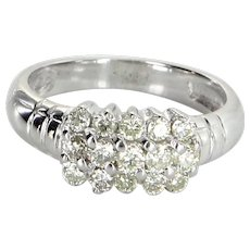 Diamond 3 Row Cluster Ring Vintage 14 Karat White Gold Estate Fine Jewelry Pre Owned