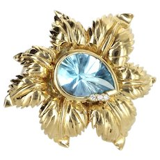Blue Topaz Leaf Brooch Vintage 14 Karat Yellow Gold Estate Fine Jewelry Pre Owned