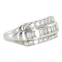Vintage Diamond Anniversary Ring 14 Karat White Gold Estate Fine Jewelry Sz 8