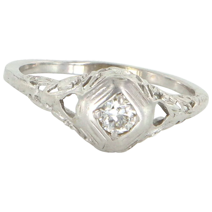 ca5baee0a Vintage Art Deco Diamond Filigree Ring 14 Karat White Gold Estate Fine : Sophie  Jane | Ruby Lane