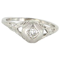 Vintage Art Deco Diamond Filigree Ring 14 Karat White Gold Estate Fine Jewelry 8