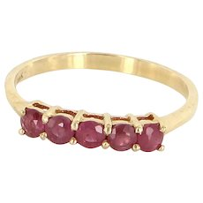 Vintage 5 Ruby Stack Band Ring 14 Karat Yellow Gold Estate Fine Jewelry Heirloom Sz 6