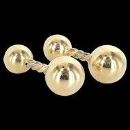 Mens Barbell Cufflinks Vintage 14 Karat Yellow Gold Estate Fine Jewelry Pre Owned