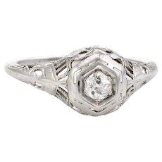 Antique Deco Diamond Ring Vintage 18 Karat White Gold Old Mine Cut Filigree Vintage