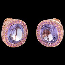 Laura Munder Amethyst Pink Tourmaline Earrings Estate 18k Rose Gold Jewelry