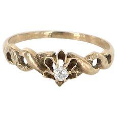 Antique Victorian Cushion Diamond Tulip Ring 14 Karat Gold Vintage Fine Jewelry 6.5