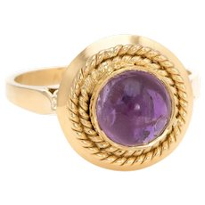Vintage Cabochon Amethyst Ring 18 Karat Yellow Gold Stacking Round Estate Jewelry