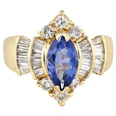 Vintage Tanzanite Diamond Ring Marquise Shape 14 Karat Yellow Gold Estate Jewelry