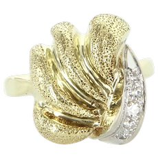 Retro Vintage Scolloped Diamond 14 Karat Yellow Gold Cocktail Ring Estate Jewelry