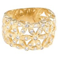 Diamond Flower Wide Band Cigar Ring Vintage 18 Karat Yellow Gold Estate Jewelry 7.5