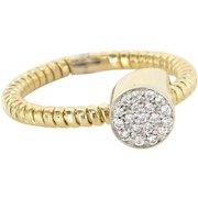 Retro Pave Diamond Vintage Cocktail Ring 14 Karat Gold Estate Fine Jewelry Sz 8.25