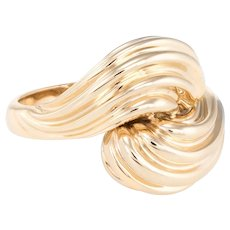 Swirl Dome Ring Vintage 14 Karat Yellow Gold Estate Fine Jewelry Pre Owned Heirloom