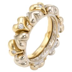 Vintage Puffed Hearts Eternity Ring Diamond 18 Karat Two Tone Gold Sz 5.75 Jewelry
