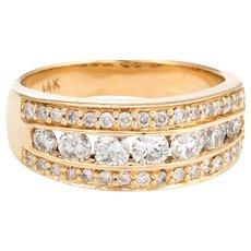 Estate 1.16ct Diamond Band Vintage 14 Karat Yellow Gold Sz 7 Channel Set Jewelry
