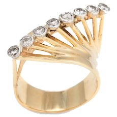 Vintage 60s Diamond Ring 14 Karat Yellow Gold East West Cocktail Jewelry Statement