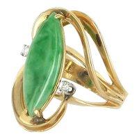 Jade Diamond Cocktail Ring Vintage 14 Karat Yellow Gold Estate Fine Jewelry Pre Owned